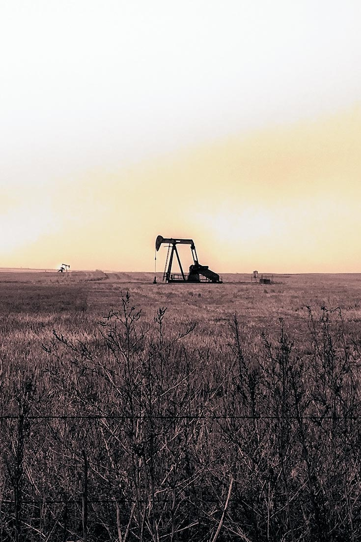 Northern Colorado Landscape Dotted by Oil Derricks