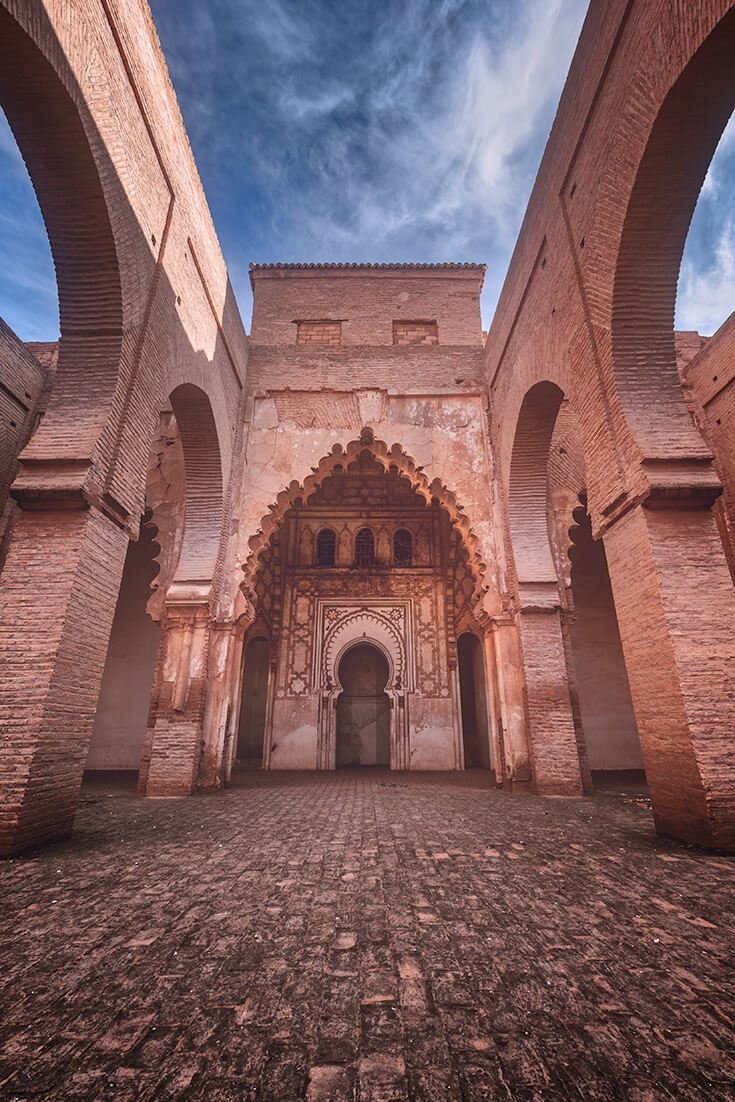 Tinmel Mosque is a restored site on the Tizi n\'Test pass road that goes south from Marrakesh Morocco into the Atlas Mountains.