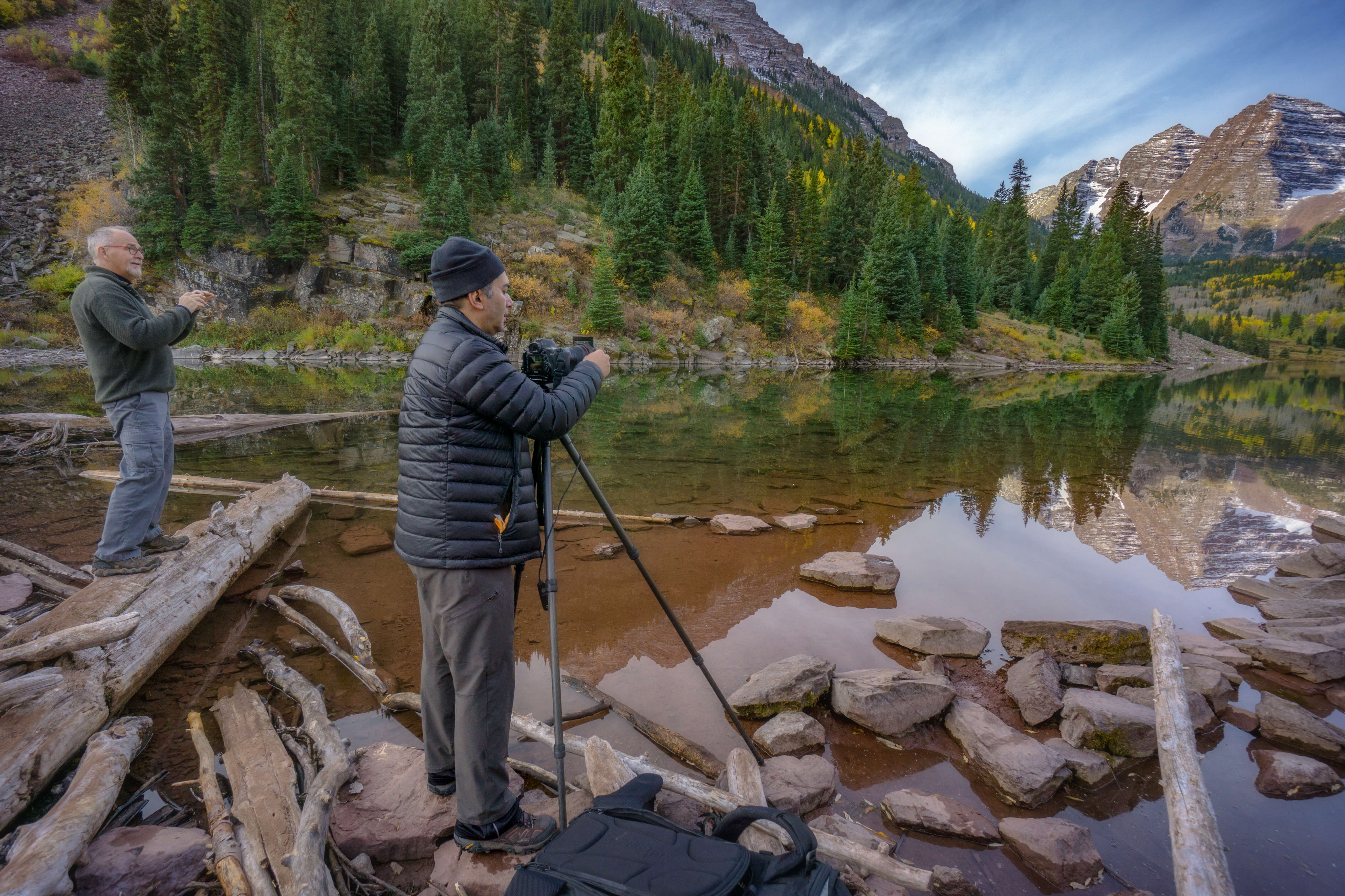 Photographers at Maroon Bells on the Intentionally Lost cycling tour and photography workshop