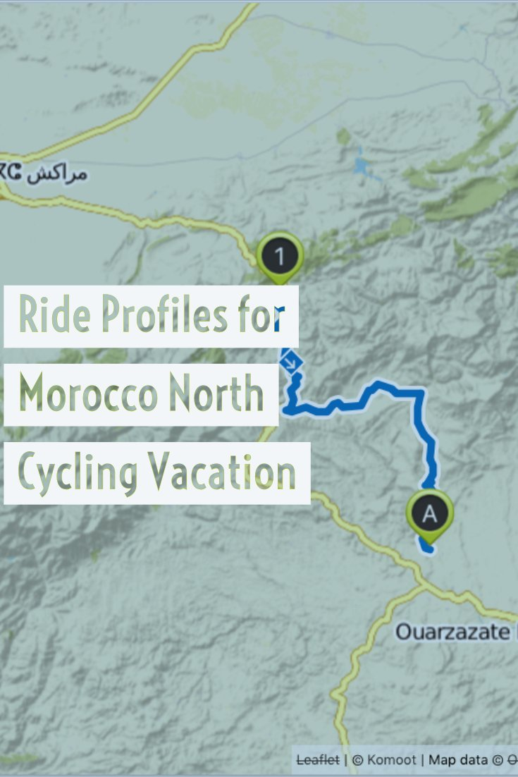 Ride profiles for each day of the cycling vacation and photography tour through Northern Morocco. These road cycling routes are fully supported and guided.