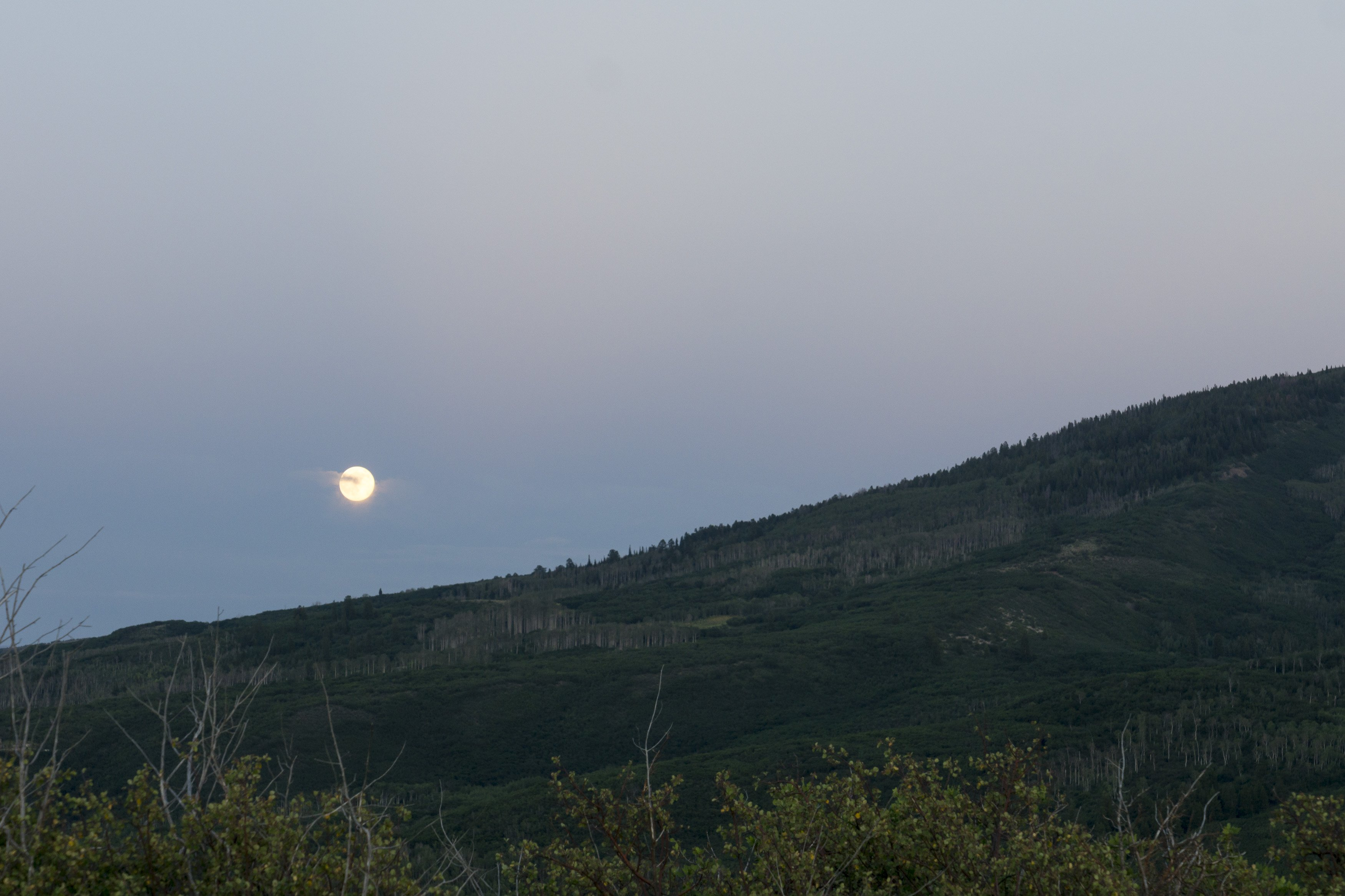 Moonrise over Mount Sopris in Colorado White River National Forest