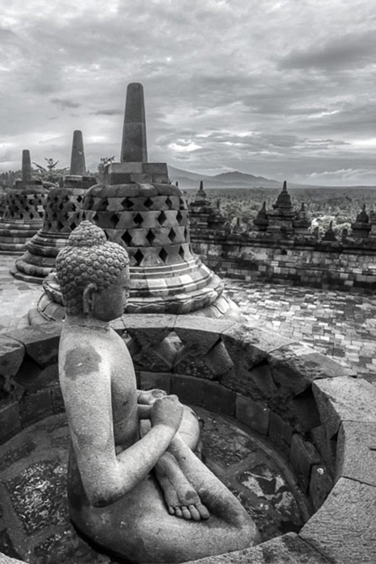 A visit to Borobudur Temple in Yogyakarta Indonesia at sunrise. What kind of photos can you make here if the sunrise doesn\'t cooperate.