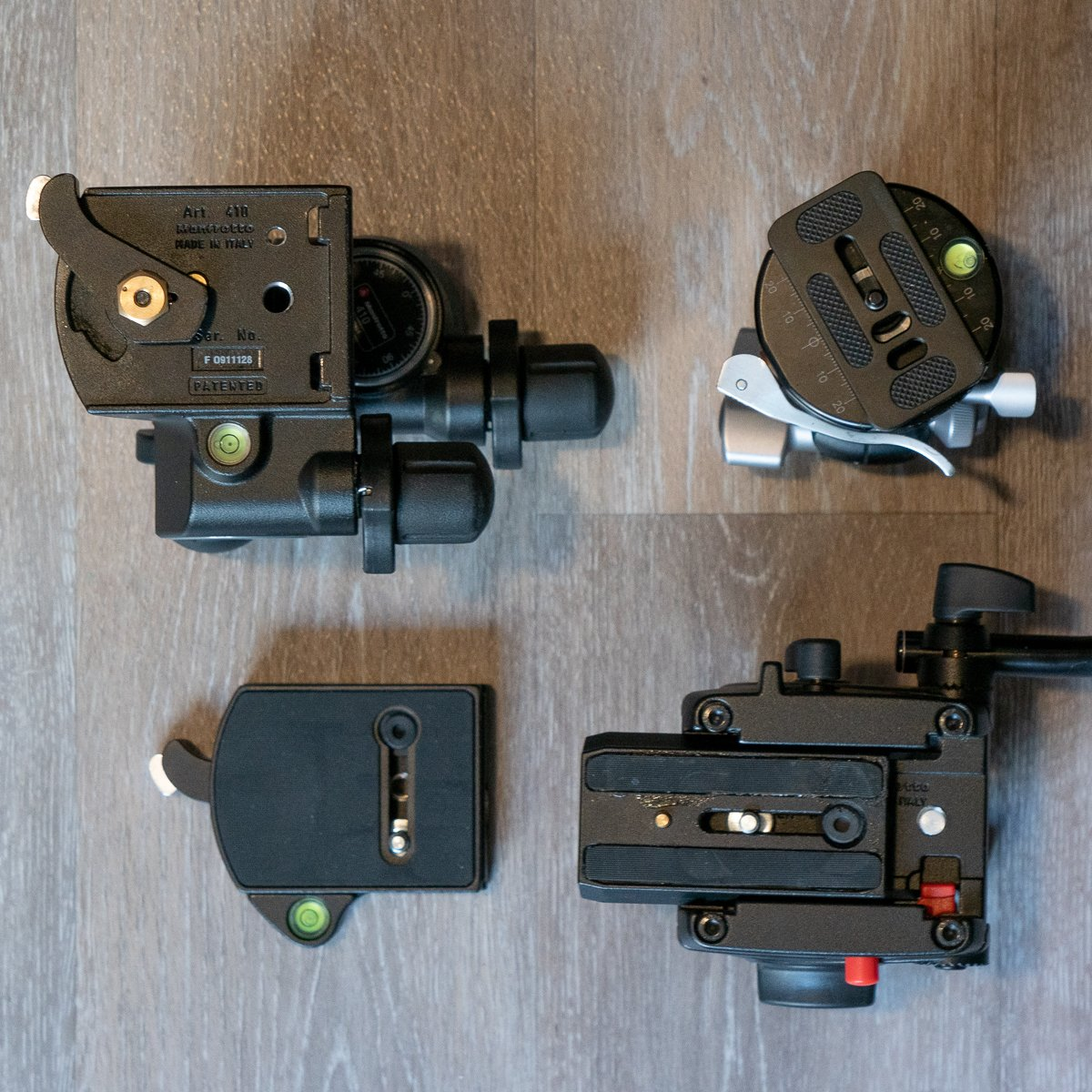 various types of camera support heads and mounting plates