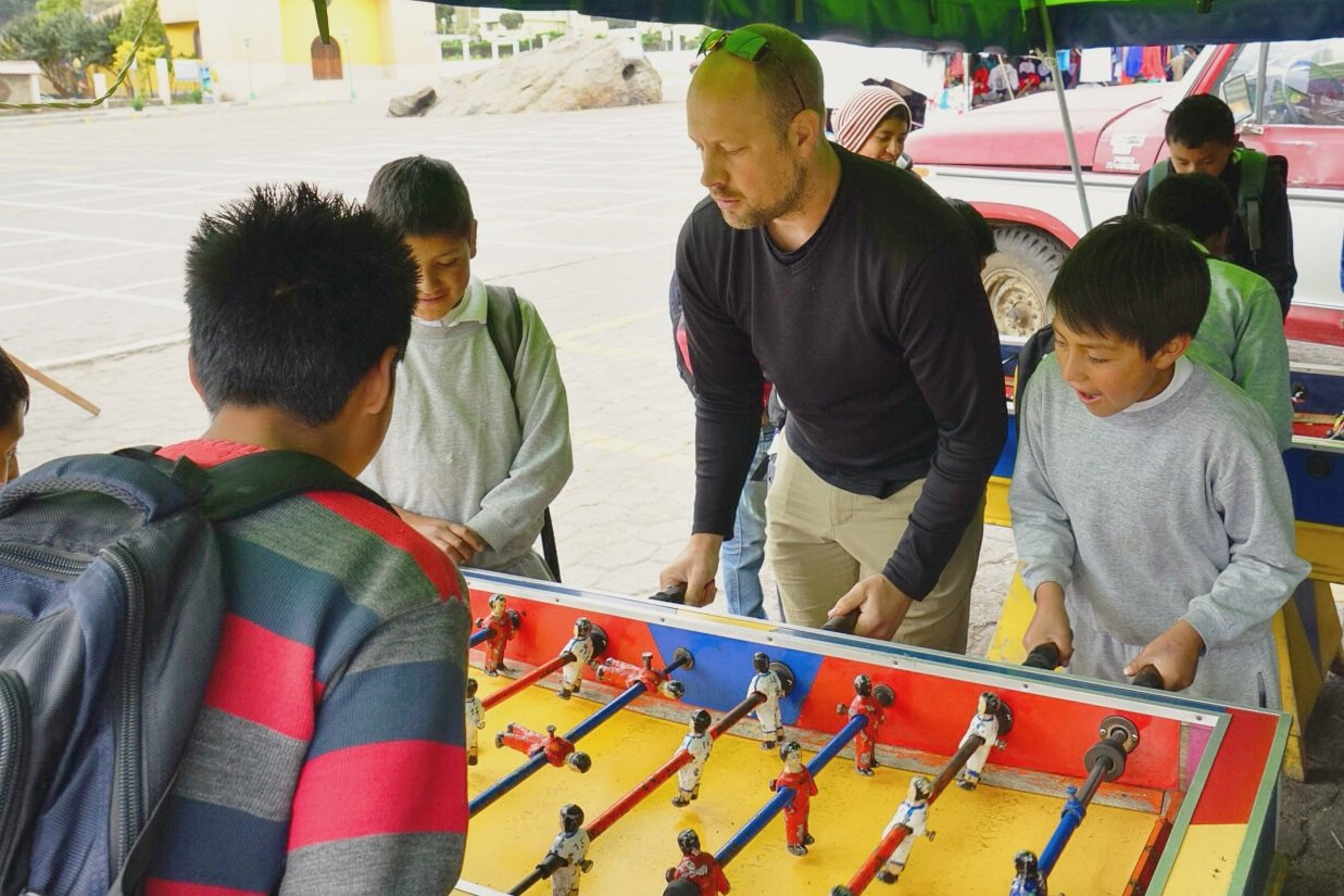 Foosball and lunch with some kids in Zumbahua Ecuador with Kevin Wenning and Intentionally Lost #intentionallylost